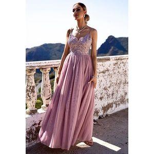 Růžové dlouhé šaty Molya obraz