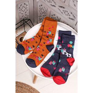 Vícebarevné ponožky Lora Bamboo Party Cat Socks in a Bag - dvojbalení obraz