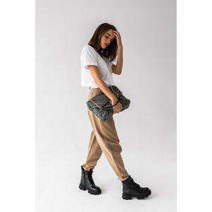 Béžové kalhoty s vysokým pasem Sand obraz