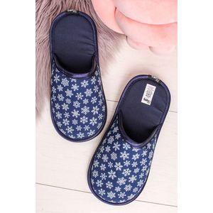 Modré vzorované dámské pantofle Blue Snowflake obraz