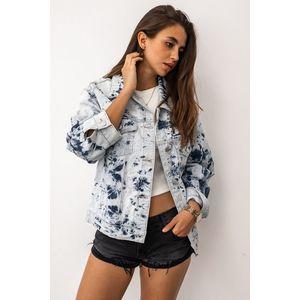 Světle modrá vzorovaná džínová bunda Washout obraz