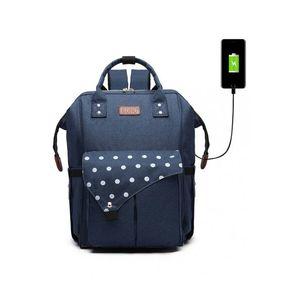 Tmavě modrý batoh s USB portem Clara obraz