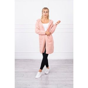 Plain sweater with a hood and pockets powdered pink obraz
