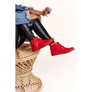 Women's Leather High Sneakers BIG STAR V274529 Red obraz