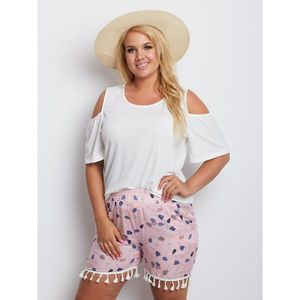 Plus size pink patterned shorts obraz