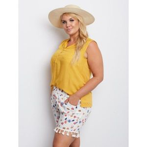 Plus size white shorts with patterns obraz