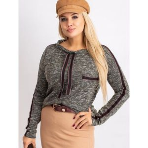 Khaki plus size blouse with stripes obraz