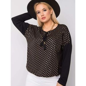 Plus size black blouse with stars obraz
