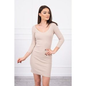 Dress fitted with neckline beige obraz