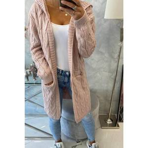 Sweater with hood and pockets powdered pink obraz