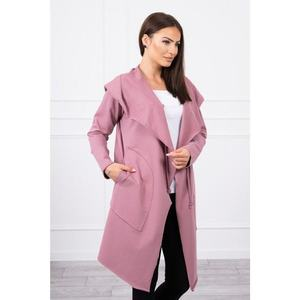 Cape with a loose hood dark pink obraz