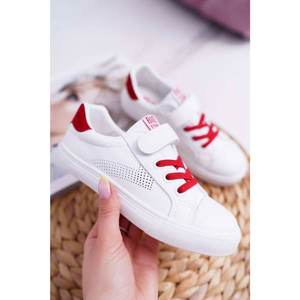 Children's Sneakers With Velcro Big Star DD374106 White-Red obraz