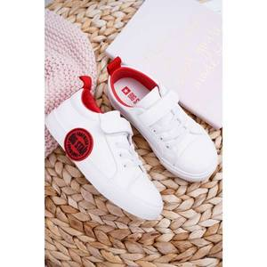 Children's Sneakers With Velcro Big Star FF374088 White-Red obraz