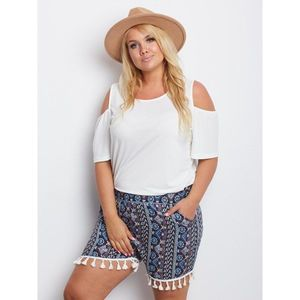 Navy blue boho shorts PLUS SIZE obraz
