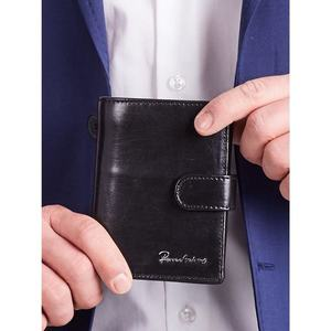 Men´s leather wallet with a black clasp obraz
