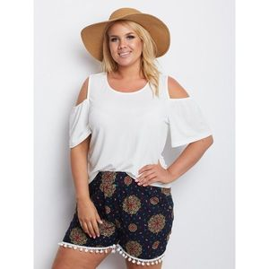 Navy blue patterned plus size shorts obraz