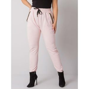 Light pink cotton plus size sweatpants obraz