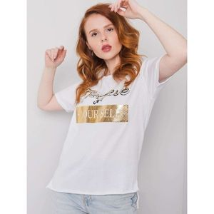 White cotton t-shirt with a print and an application obraz
