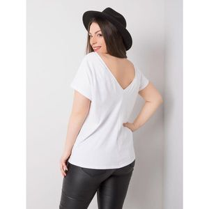 White plus size cotton t-shirt obraz