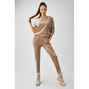 Světle hnědý velurový komplet pulovr + těplákové kalhoty M82292 obraz
