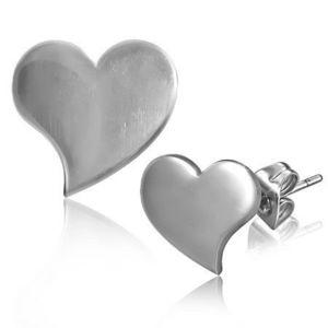 Lesklé puzetové náušnice z oceli - prohnuté srdce obraz