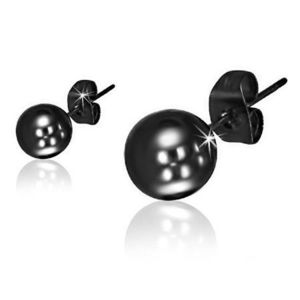 Puzetové náušnice z oceli, lesklé kuličky černé barvy obraz