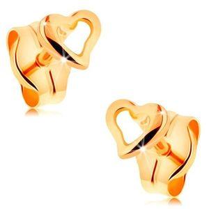 Náušnice ze žlutého 14K zlata - kontura drobného nepravidelného srdce obraz