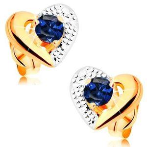 Zlaté náušnice 585 - dvoubarevný obrys srdce, gravírování, modrý safír obraz