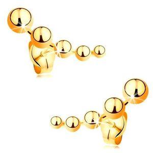 Puzetové náušnice ze žlutého zlata 585 - zmenšující se kuličky obraz