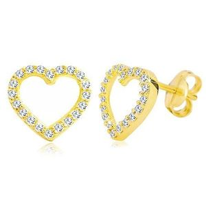 Náušnice ve žlutém 14K zlatě - obrys srdce zdobený čirými zirkony obraz