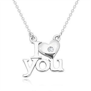 """Briliantový náhrdelník ze stříbra 925, """"I heart you"""", řetízek z oválných oček obraz"""