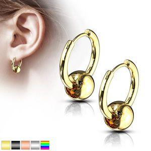 Kruhové náušnice z chirurgické oceli - ozdobené hladkou a lesklou kuličkou, kloubové zapínání - Barva: Zlatá obraz