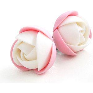 Troli Růžovo-bílé náušnice puzetky kytičky obraz