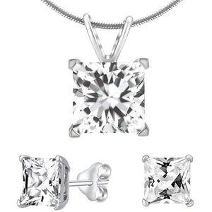 Silvego Stříbrný set šperků s čirým křišťálem JJJSQ55 (náušnice, přívěsek) obraz