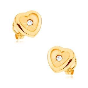 Náušnice ve žlutém 9K zlatě, srdce, lesklá kontura, matný střed, zirkon obraz