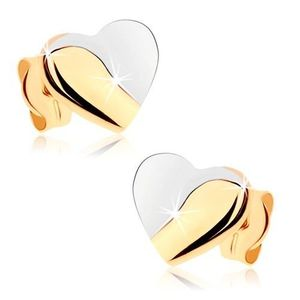 Rhodiované náušnice v 9K zlatě - srdce s lesklou a matnou částí obraz