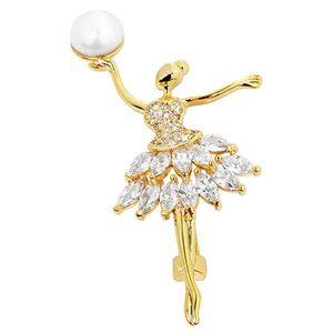 JwL Luxury Pearls Perlová pozlacená brož Baletka s krystaly JL0375 obraz