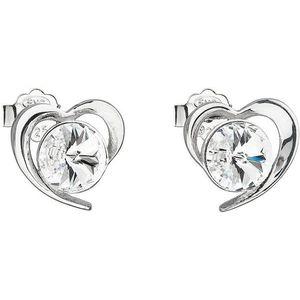 Evolution Group Stříbrné náušnice s krystaly Swarovski bílé srdce 31259.1 obraz
