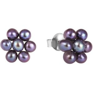 JwL Luxury Pearls Kytičkové náušnice z pravých kovově modrých perel JL0580 obraz