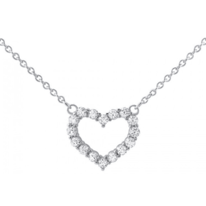 Silvego Stříbrný náhrdelník srdíčko se zirkony JJJN0685 obraz