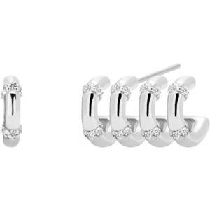 PDPAOLA Asymetrické stříbrné náušnice s čirými zirkony GISELLE Silver AR02-108-U obraz