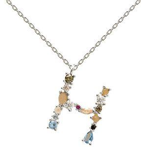 """PDPAOLA Stříbrný náhrdelník písmeno """"H"""" se zirkony CO02-103-U (řetízek, přívěsek) obraz"""