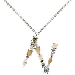 """PDPAOLA Stříbrný náhrdelník písmeno """"N"""" se zirkony CO02-109-U (řetízek, přívěsek) obraz"""