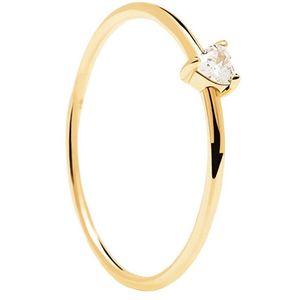 PDPAOLA Minimalistický pozlacený prsten se srdíčkem White Heart Gold AN01-223 50 mm obraz