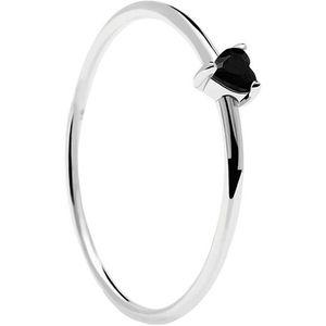 PDPAOLA Minimalistický stříbrný prsten se srdíčkem Black Heart Silver AN02-224 50 mm obraz