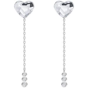 Preciosa Elegantní stříbrné náušnice Srdce s českým křišťálem Preciosa With Love 6145 00 obraz