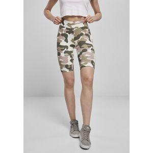 Urban Classics Ladies High Waist Camo Tech Cycle Shorts duskrose camo obraz