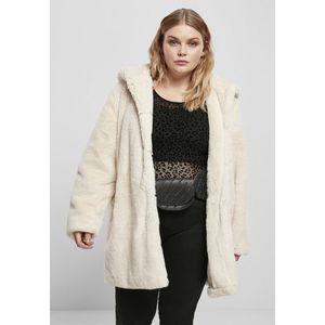 Urban Classics Ladies Hooded Teddy Coat offwhite obraz