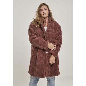 Urban Classics Ladies Oversized Sherpa Coat darkrose obraz