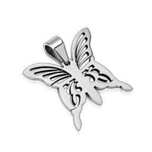 Přívěsek z chirurgické oceli - stříbrný motýl obraz